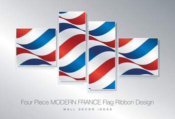 Four piece France flag ribbon wall decor design