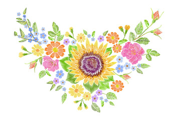 Sunflower field wild floral embroidery arrangement neckline decoration. Fashion textile floral clothing print.Colourful daisy small blue herb rose vector illustration