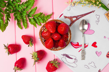 Ripe strawberries on wooden table. Fresh strawberries on wooden background