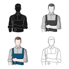 Fitter mechanic.Professions single icon in cartoon style vector symbol stock illustration web.