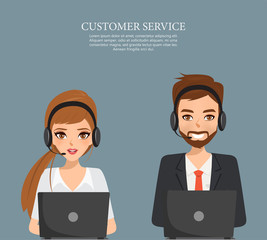 Operator of call center office working in headphones. Illustration vector.