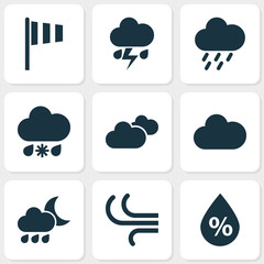 Air Icons Set. Collection Of Nightly, Moisture, Cloudy And Other Elements. Also Includes Symbols Such As Rain, Light, Vane.