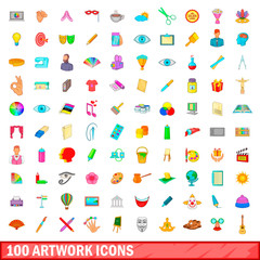 100 artwork icons set, cartoon style