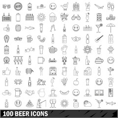 100 beer icons set, outline style