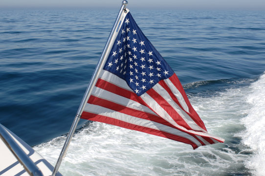 American flag off stern of boat