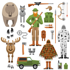Hunter equipment flat icons set, weapons, camouflage and animals