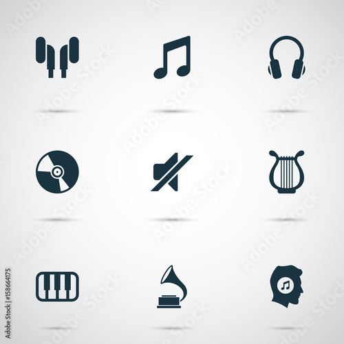 Music Icons Set Collection Of Phonograph Meloman Silence And