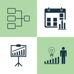 Authority Icons Set. Collection Of Decision Making, Presentation Date, System Structure And Other Elements. Also Includes Symbols Such As Improvement, Structure, Statistic.
