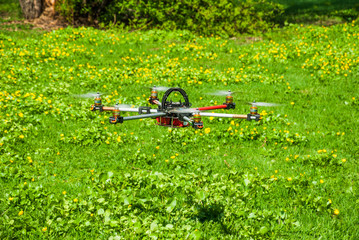 The hexacopter in flight over the lawn