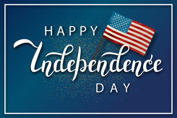 Vector isolated handwritten lettering for 4th July Independence Day in USA and watercolor design american flag on confetti background. Vector calligraphy poster for greeting card and covering.