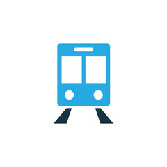 Railway Carriage Colorful Icon Symbol. Premium Quality Isolated Train Element In Trendy Style.