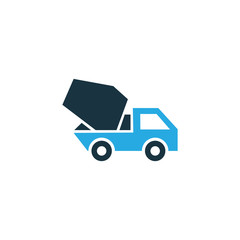 Concrete Mixer Colorful Icon Symbol. Premium Quality Isolated Cement Vehicle Element In Trendy Style.