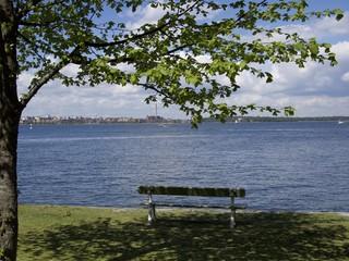A bench under green trees on Suomenlinna, Helsink, Finland