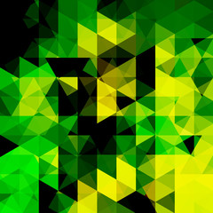 Background of yellow, green geometric shapes. Abstract triangle geometrical background. Mosaic pattern. Vector EPS 10. Vector illustration