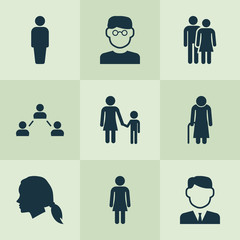 Human Icons Set. Collection Of Gentlewoman Head, Family, Female And Other Elements. Also Includes Symbols Such As User, Work, Woman.