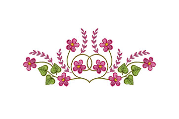 Pattern embroidered satin stitch  pink flowers and leaves on white backgrounds