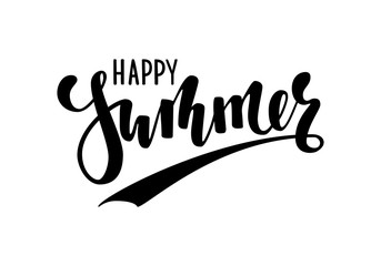 Happy Summer. Hand drawn calligraphy and brush pen lettering. design for holiday greeting card and invitation of seasonal summer holidays, summer beach parties, tourism and travel
