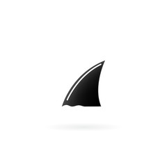 Shark fin icon isolated on white background.