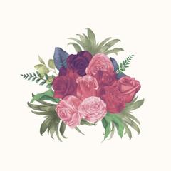 Watercolor Roses Bouquet Hand Draw Paint Bush Vector