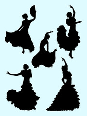 Passionate woman dancing flamenco. Good use for symbol, logo, web icon, mascot, sign, or any design you want.