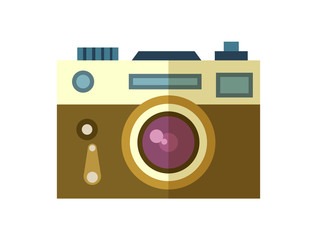 Photo camera icon vector illustration isolated on white background. Tourist equipment in flat design. World traveling, nature vacation concept.