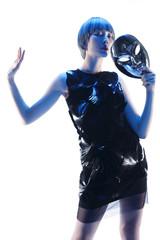 Fashion women hold masks