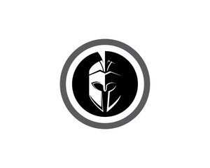 Spartan helmet logo template vector icon
