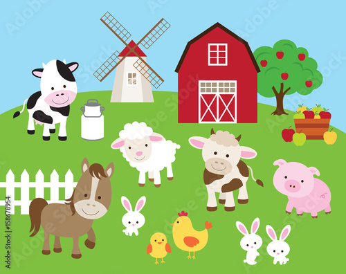 Vector Illustration Of Farm Animals Such As Cow Horse Pig Sheep Chicken