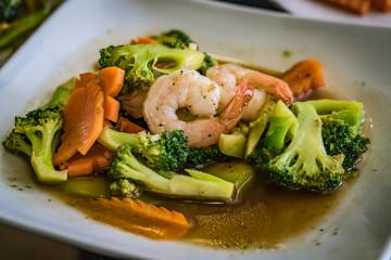 Fried brocoli with shrimp