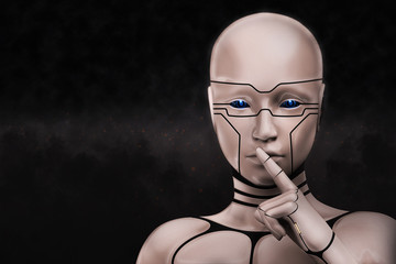 Portrait of a mysterious cyborg woman. 3D rendering illustration