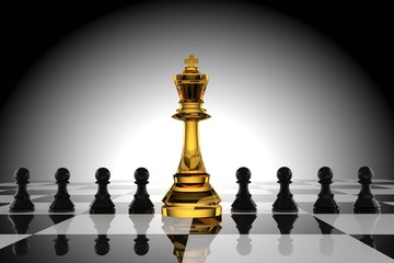 Leadership of the glass king chess with black pawn in 3D rendering