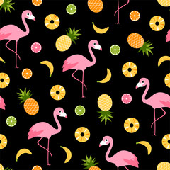 Flamingo and tropical fruits seamless pattern background