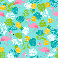 Flamingo, pineapple and tropical leaf seamless pattern background