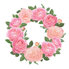 Decorative vintage pink roses and bud with leaves in round shape. Vector set of blooming flower for your design. Adornment for wedding invitations and greeting card.
