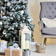 Christmas decorated room, photo studio interior