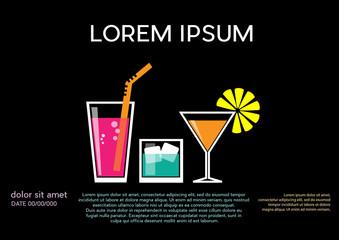 Cocktail party invitation. Vintage poster, vector black background in flat design