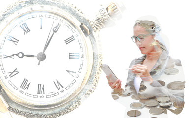 Double exposure young Business woman using smartphone with image of clock and overflowing jar of International coins.