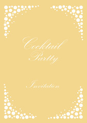 Cocktail party invitation. Vintage poster, vector background with bubbles champagne