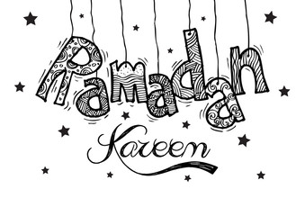 Ramadan Kareem .Doodle greeting card .Holy month of muslim community.