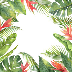 Watercolor frame of tropical flowers and leaves isolated on white background.