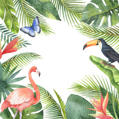 Watercolor frame of tropical birds and exotic plants isolated on white background.