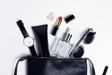 Wall Mural - Close up accessories in cosmetic black bag