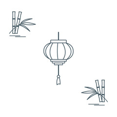 Stylized icon of the chinese lantern and bamboo. Travel and leisure.