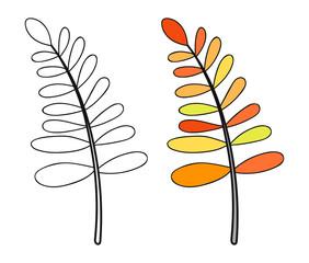 Leaf. Black and white illustration for coloring book. Doodle object.