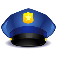 Vector Illustration of a Blue Police Hat