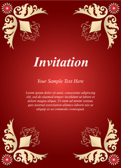 Invitation card, wedding card with golden ornamental on red background
