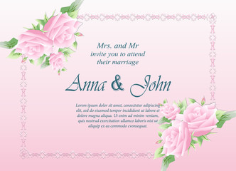 Wedding card, Invitation card with rose flower on pink background