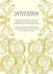 Invitation card, wedding card with ornamental on beige background