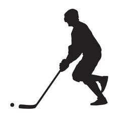 Running ball hockey player, summer hockey, vector silhouette