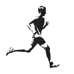 Running man vector sketch, abstract silhouette, side view